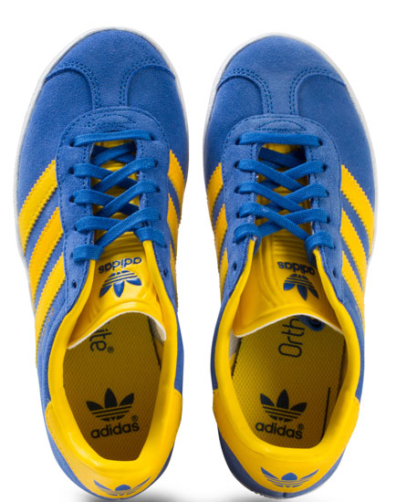 Adidas Gazelle trainers in blue and yellow for kids
