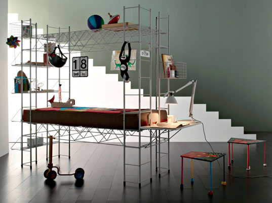 Robots Abitacolo children's bed, desk and storage by Bruno Munari