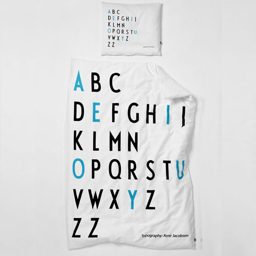 Arne Jacobsen Design Letters bed linen for kids