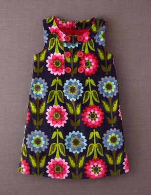 Retro Print Button Pinafore Dress from Boden