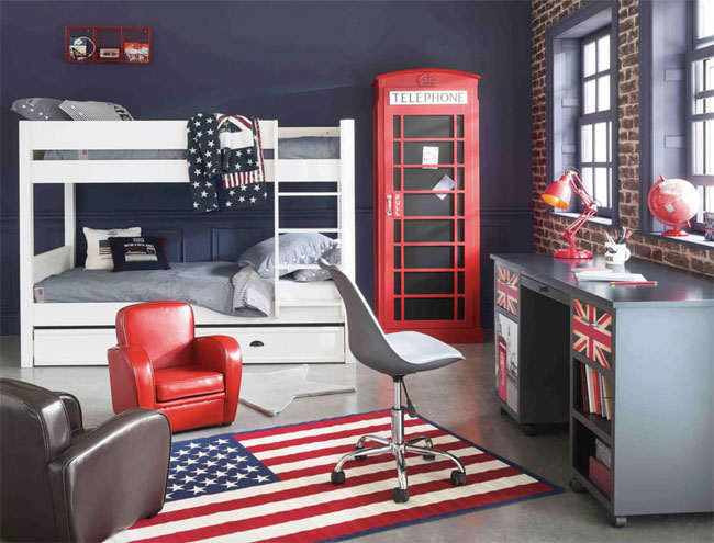 Red telephone box wardrobe at Maisons Du Monde