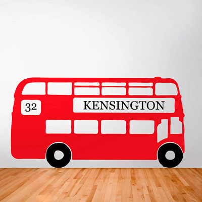 Personalised Retro London Bus Wall Sticker by Oakdene Designs