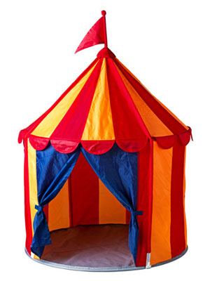Circus-style Cirkustalt children's tent at Ikea