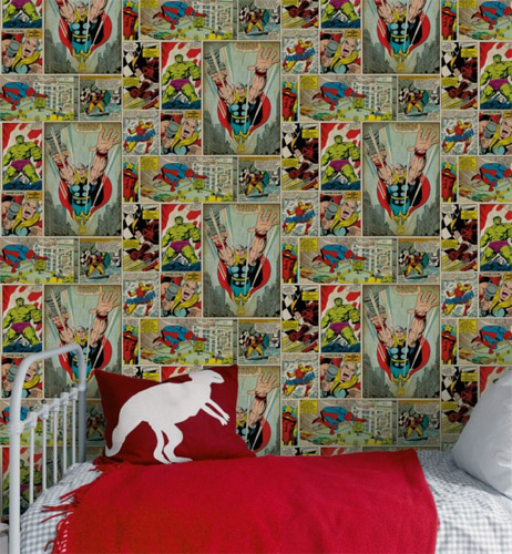 comic strip wallpaper at b q junior hipster. Black Bedroom Furniture Sets. Home Design Ideas