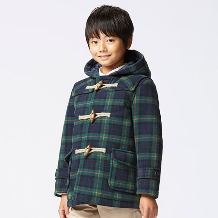 Fleece Checked Duffle Coat for kids at Uniqlo