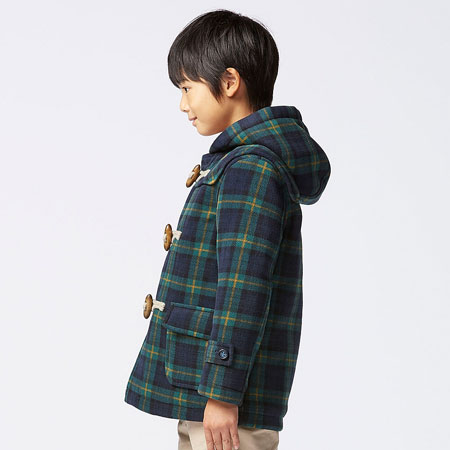 Fleece Checked Duffle Coat For Kids At Uniqlo Junior Hipster