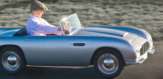1960s-style Aston Martin DB Convertible for kids