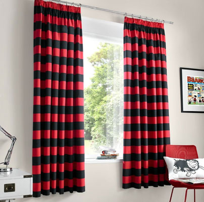 Dennis The Menace striped curtains