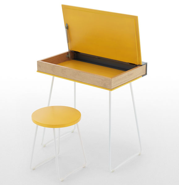 Going old school: Book desk and stool set at Made