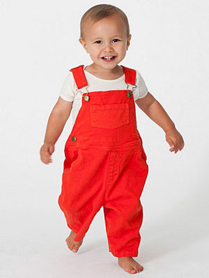 Infant Twill Dungarees from American Apparel
