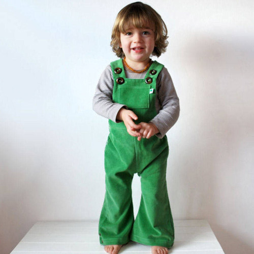 1970s-style flared corduroy dungarees by Olive and Vince