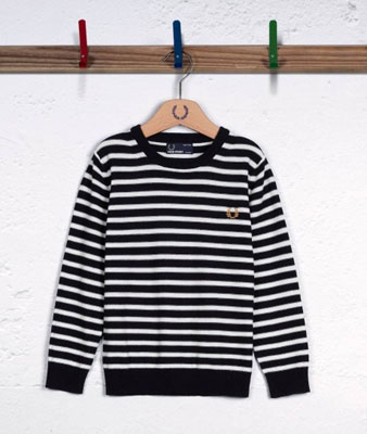 Breton stripe knitted sweater by Fred Perry Kids