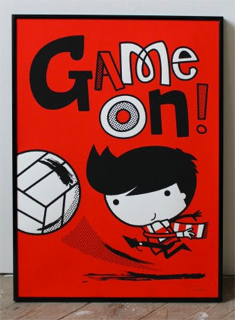 Game On screen print by Spencer Wilson
