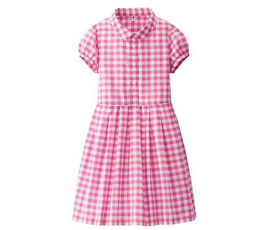 Gingham Check Short Sleeve Dress at Uniqlo