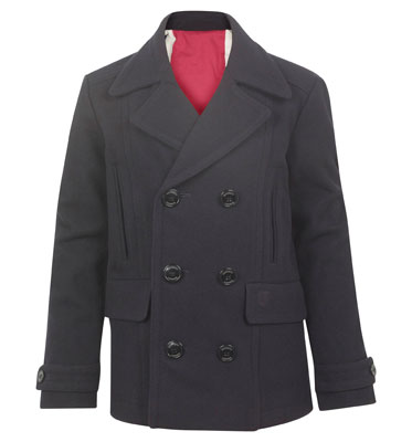 Hackett boys double breasted wool peacoat