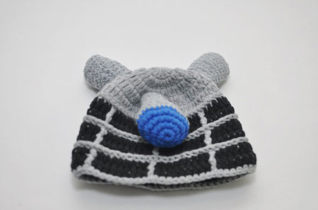 Crocheted sci-fi baby hats by Geekling Designs at Etsy