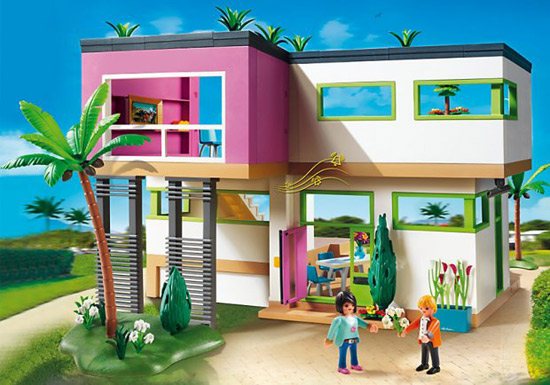 Miniature modernist living: Modern Luxury Mansion by Playmobil