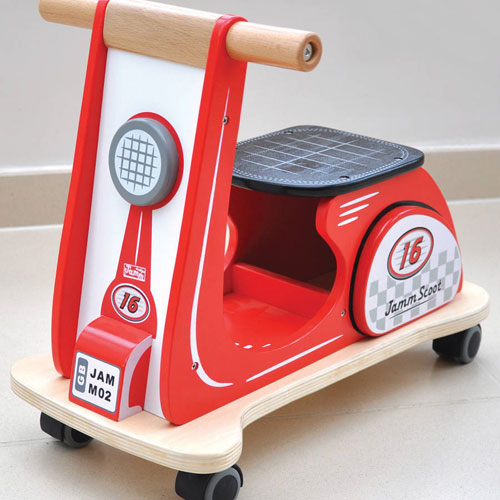 Retro-style wooden ride-on scooters by Jamm