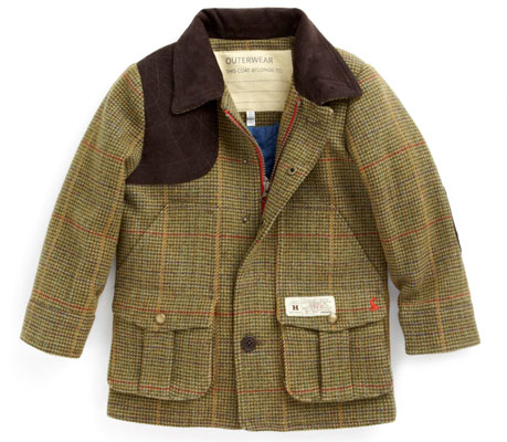 Country gent style: Green Tweed Coat for Boys at Joules