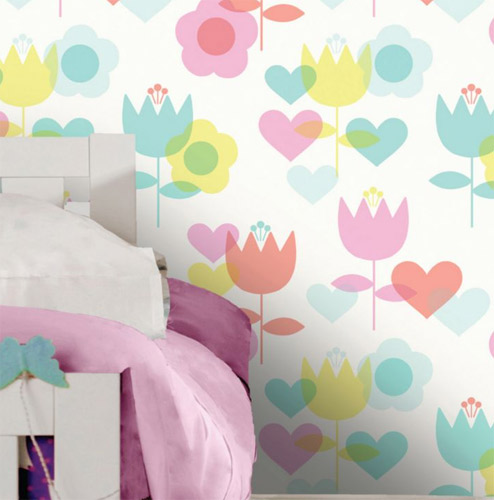 Retro walls: 1970s-style Kaylee floral wallpaper at B&Q