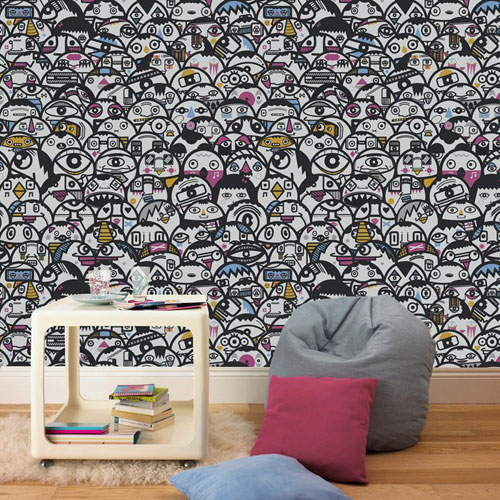Alien Crowd wallpaper by Kev Munday for Graham & Brown
