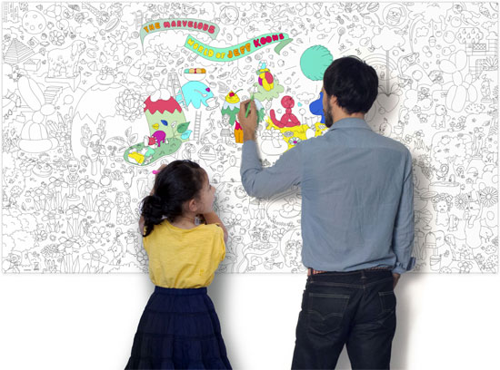 The Marvellous World of Jeff Koons colouring-in artwork by OMY Design & Play