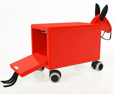 Midcentury Trojan Horse ride-on toy and storage by Leka