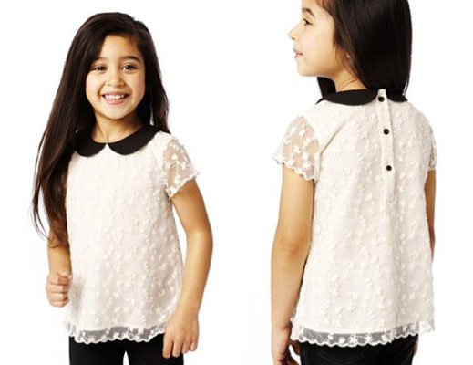 1960s-style Autograph Peter Pan Collar Floral Lace Top at Marks & Spencer