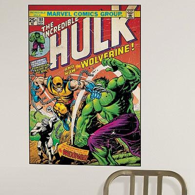 Vintage-style Marvel Comics wall graphics