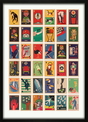 Vintage Matchbox Labels A-Z Print