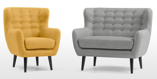 Mini Kubrick sofa and armchair at Made - midcentury seating for kids