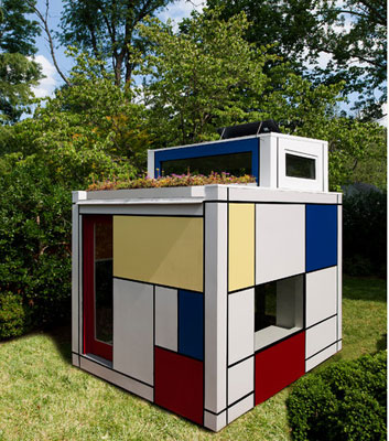 Piet Mondrian-inspired modernist playhouse for kids