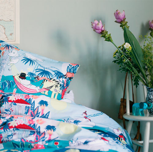 Bold bedding: Moomins duvet cover sets for kids by Finlayson