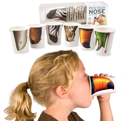 Pick Your Nose party animals cups by Jason Amendolara