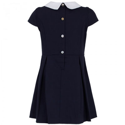 1960s-style Oscar De La Renta Navy Pleat Peter Pan Collar Dress