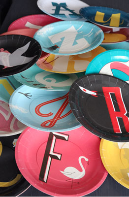 A to Z midcentury modern paper plates and cups