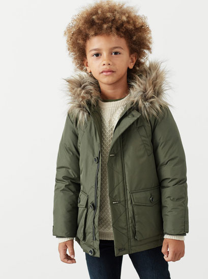 Parka power: Faux fur hood coat for kids at Mango
