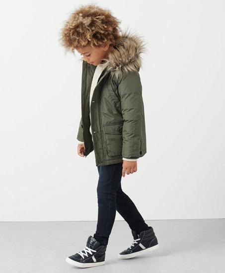 Parka power: Faux fur hood coat for kids at Mango