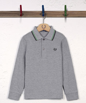 Fred Perry long-sleeved twin-tipped polo shirt for kids