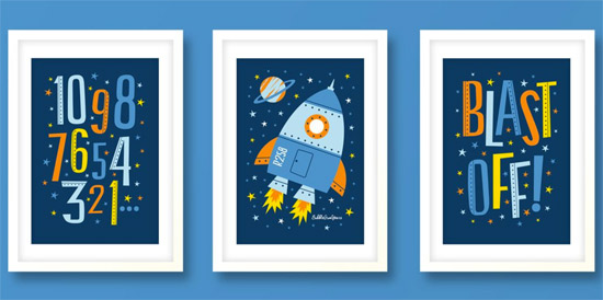 Rocket Print Set by Bubble Gum Years