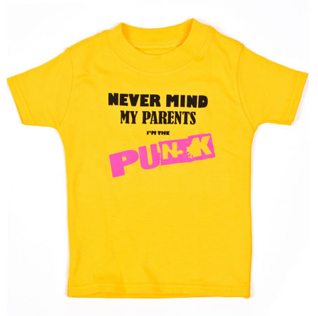 Never Mind My Parents I'm The Punk t-shirt at Baby Moo's