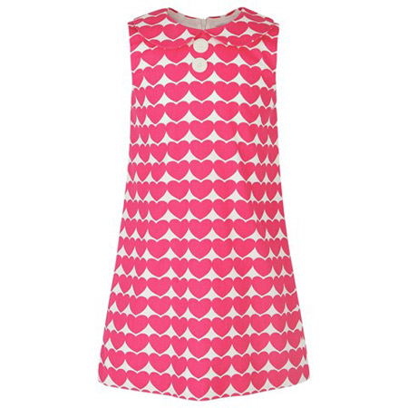 1960s-style heart print shift dress by Rachel Riley