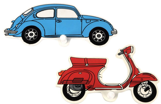 Pakhuis Oost handmade VW Beetle and Vespa scooter coat hooks