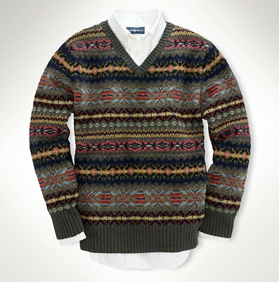 Ralph Lauren boys Fair Isle v-neck sweater