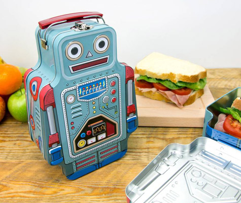 Retro tin robot lunch box by Suck UK