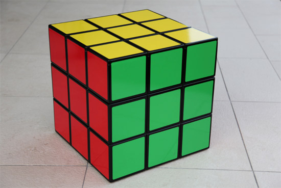 Rubik's Cube seat and storage unit by Surface Tension
