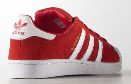 Adidas reissues Superstar trainers in red and blue suede for kids