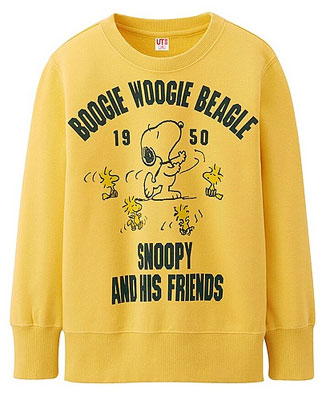 Vintage-style Peanuts sweatshirts for kids at Uniqlo