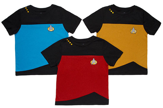 Geek chic: Star Trek TNG Uniform toddler t-shirts
