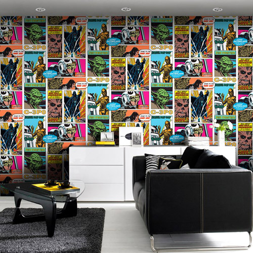 Star Wars Pop Art Collage wallpaper by Graham and Brown